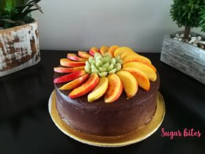 Chocolate cake with fruits topping